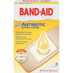 Band-Aid Adhesive Bandages Plus Antibiotic Extra Large 8 Count