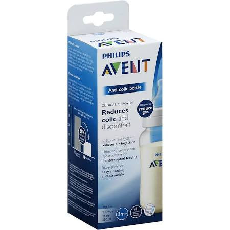 Avent Bottle, Anti-Colic, Wide-Neck, 3 Month+, 11 Ounce