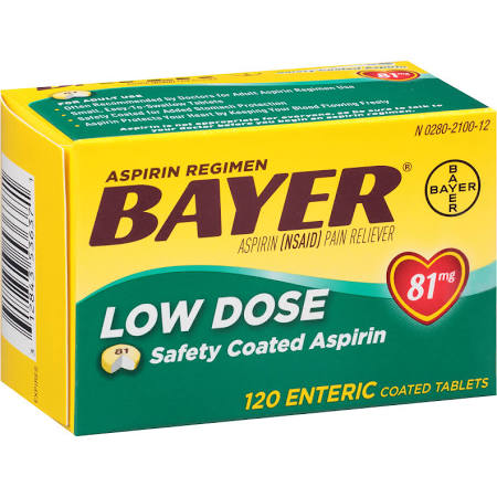 Bayer Low Dose 81mg Enteric Coated Tablets 120 Count Baby Aspirin