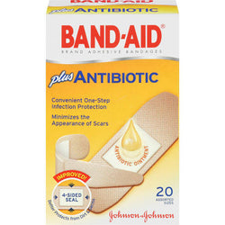 Band-Aid Adhesive Bandages, Plus Antibiotic Assorted Sizes  20 Count