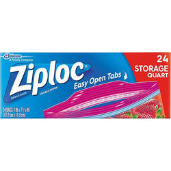 Ziploc Double Zipper Storage Bags Quart Size 24 Count