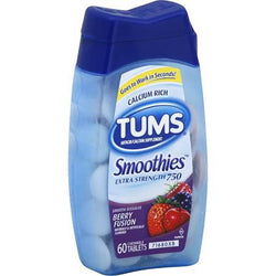Tums Extra Strength 750 Smoothies Berry Fusion Tablets 60 Count