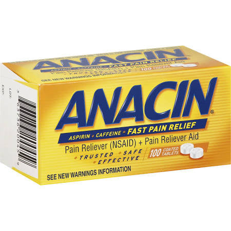 Anacin Pain Reliever Coated Tablets, Aspirin + Caffeine 100 Count