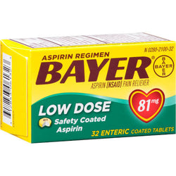 Bayer Low Dose 81mg Enteric Coated Tablets 32 Count Baby Aspirin
