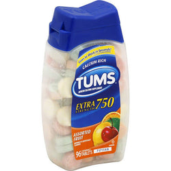 Tums Antacid Extra Strength 750MG Assorted Fruit Tablets 96 Count