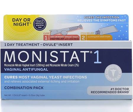 Monistat 1 Vaginal Antifungal Treatment Combination Pack, Ovule Insert/Cream, Day or Night