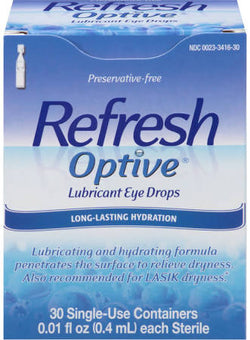Refresh Optive Lubricant Eye Drops, Sensitive 30 Count 0.01 OZ tubes