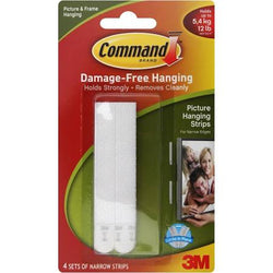 Command Narrow Picture Hanging Strips White 4 Sets 12LBS