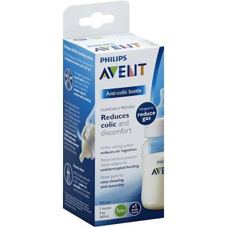 Avent Bottle, Anti-Colic, Wide-Neck, 1 Month+, 9 Ounce