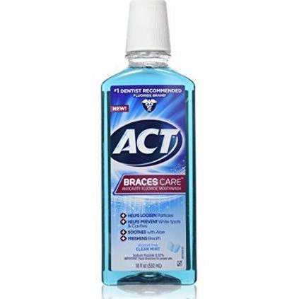 ACT Braces Care Anticavity Fluoride Mouthwash with Xylitol Clean Mint 18 OZ