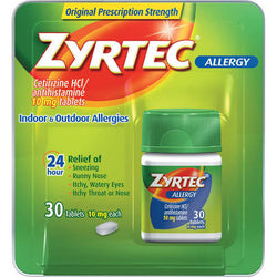 Zyrtec 24-Hour Allergy Relief 10 mg Tablets  30 Count