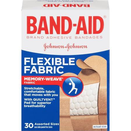 Band-Aid Adhesive Flexible Fabric Bandages Assorted Sizes 30 count