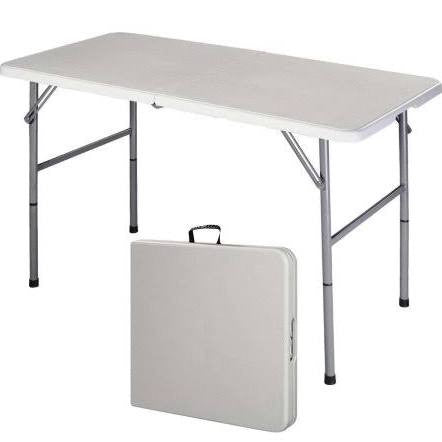 4 Foot Fold In Half White Plastic Folding Table Table