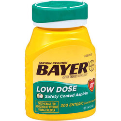 Bayer Low Dose 81mg Enteric Coated Tablets 300 Count Baby Aspirin