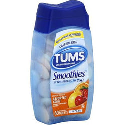 Tums Extra Strength 750 Smoothies Assorted Fruit Tablets 60 Count