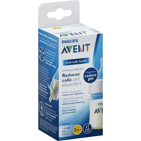Avent Bottle, Anti-Colic, Wide-Neck, 0 Month+, 4 Ounce