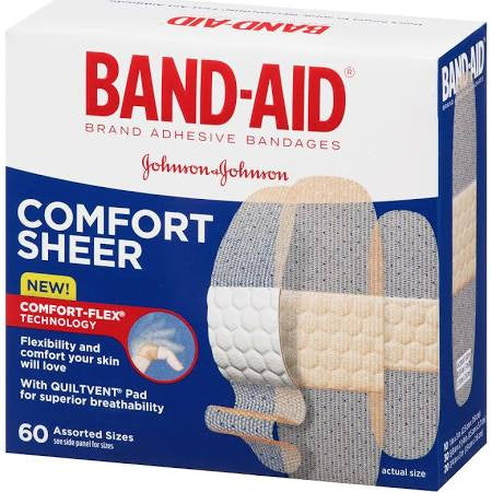 Band-Aid Adhesive Bandages Sheer Strips Assorted Sizes 60 count