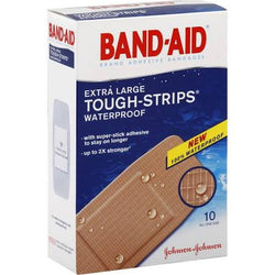 Band-Aid Bandages Tough-Strips Waterproof, Extra Large 10 count
