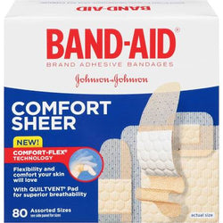 Band-Aid Adhesive Bandages, Sheer Strips, Assorted Sizes 80 count
