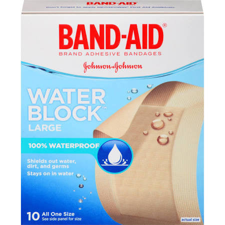 Band-Aid Bandages, Water Block Plus Large 10 count
