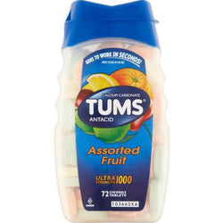 Tums Antacid Ultra Strength 1000MG Assorted Fruit Tablets 72 Count