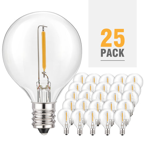 Kohree 1W G40 Led Replacement Bulbs 2200K Outdoor for Patio G40 Edison Globe String Lights, E12 Base Dimmable LED Bulb for Party Decor,25Pack, Weatherproof