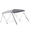 "73""-78"" 3 Bow Bimini Top Boat Cover with Rear Support Pole and with a set of Aluminum Frame Mounting Hardwares (Grey)"