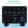 Kohree 12V Waterproof 5 Gang Digital Voltmeter Display Dual USB Charger Port DC  Rocker Switch Panel - kohree