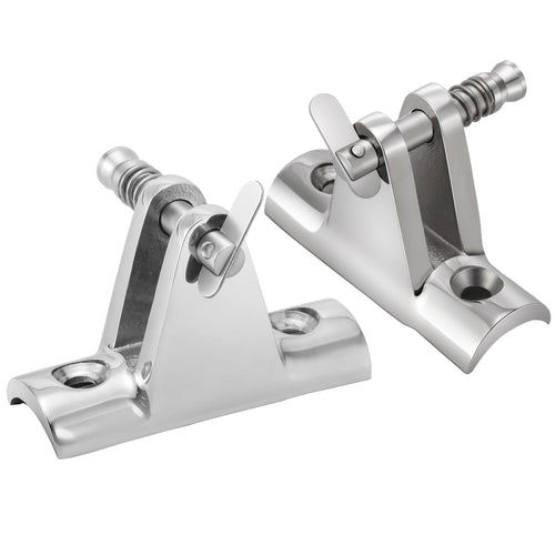 Kohree Bimini Top Deck Hinge 90°with Quick Release Pin Boat Top Fittings Concave Base Hardware 316 Stainless Steel 2pcs - kohree