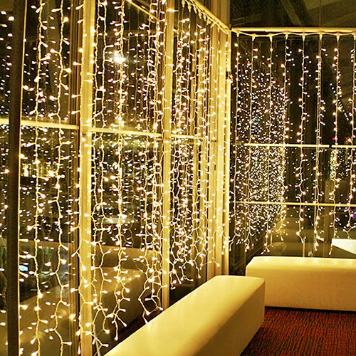 Kohree 300 LED Window Curtain Lights, String Light, Icicle Light, Wedding Light Remote Control Outdoor Indoor Decoration for Bedroom, Garden, Warm White, 8 Mode, UL Certified 9.8 Foot x 9.8 Foot x12 Strands - kohree