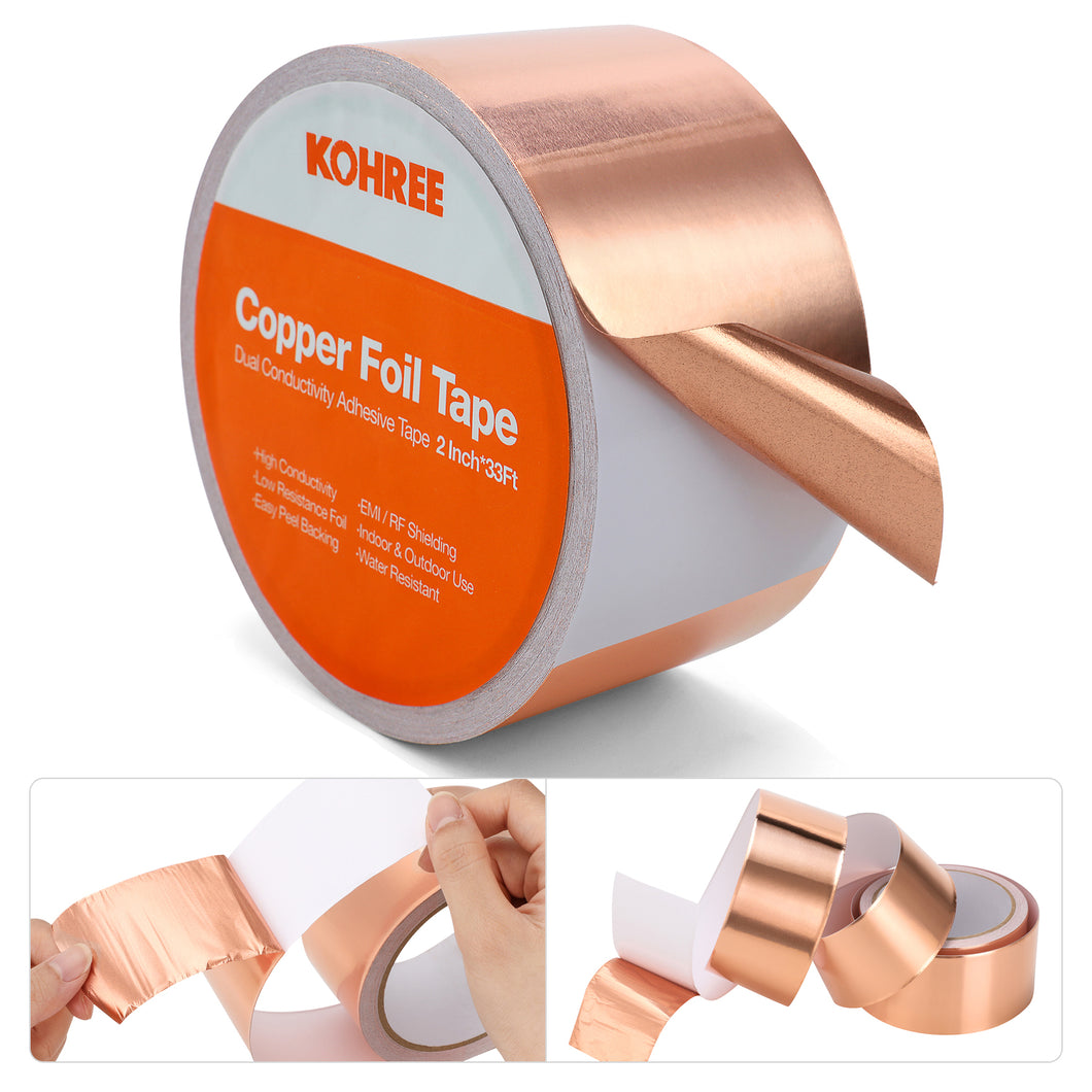 Kohree Gold Copper Foil Tape with Conductive Adhesive, 2 Inch X 33 FT Electrical Copper Shielding Tape for Garden, EMI Shielding, Guitar, Soldering, Paper Circuits, Electrical Repairs, Grounding - kohree
