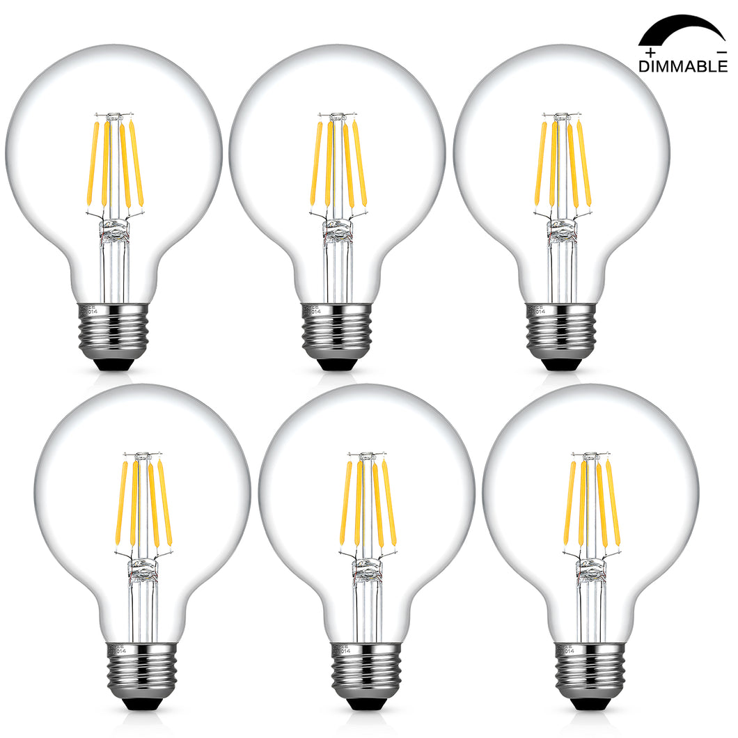 Dimmable Edison Led Globe Light Bulb G25, Bathroom Vanity Light Bulb 4W (40W Equivalent), 2700k Warm White, E26 Base, ETL Listed, Pack of 6 - kohree