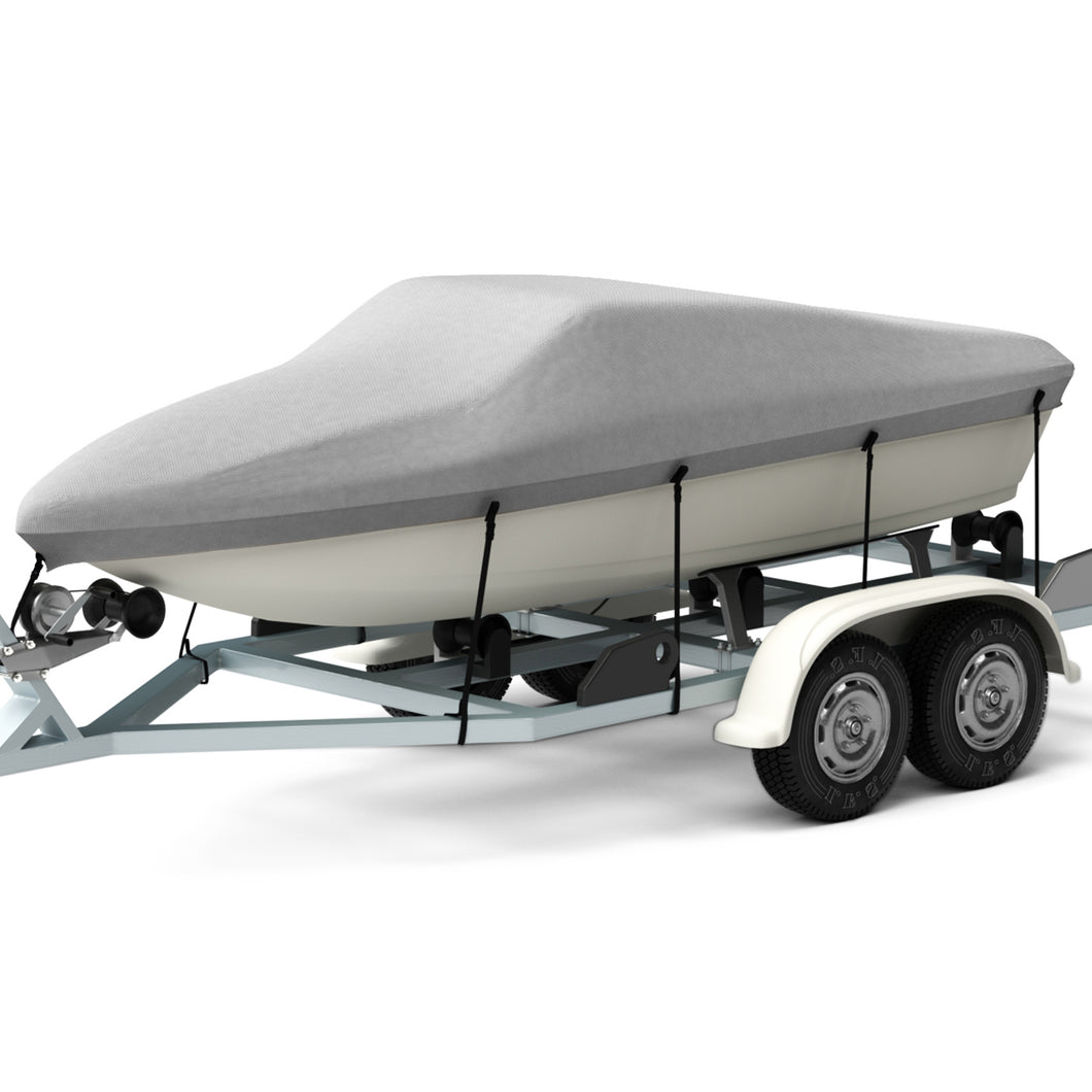 Kohree Trailerable Runabout Boat Cover Fit V-Hull Tri-Hull Fishing Ski Pro-Style Bass Boats,Heavy Duty 600D Polyester for 17'-19'L,Grey