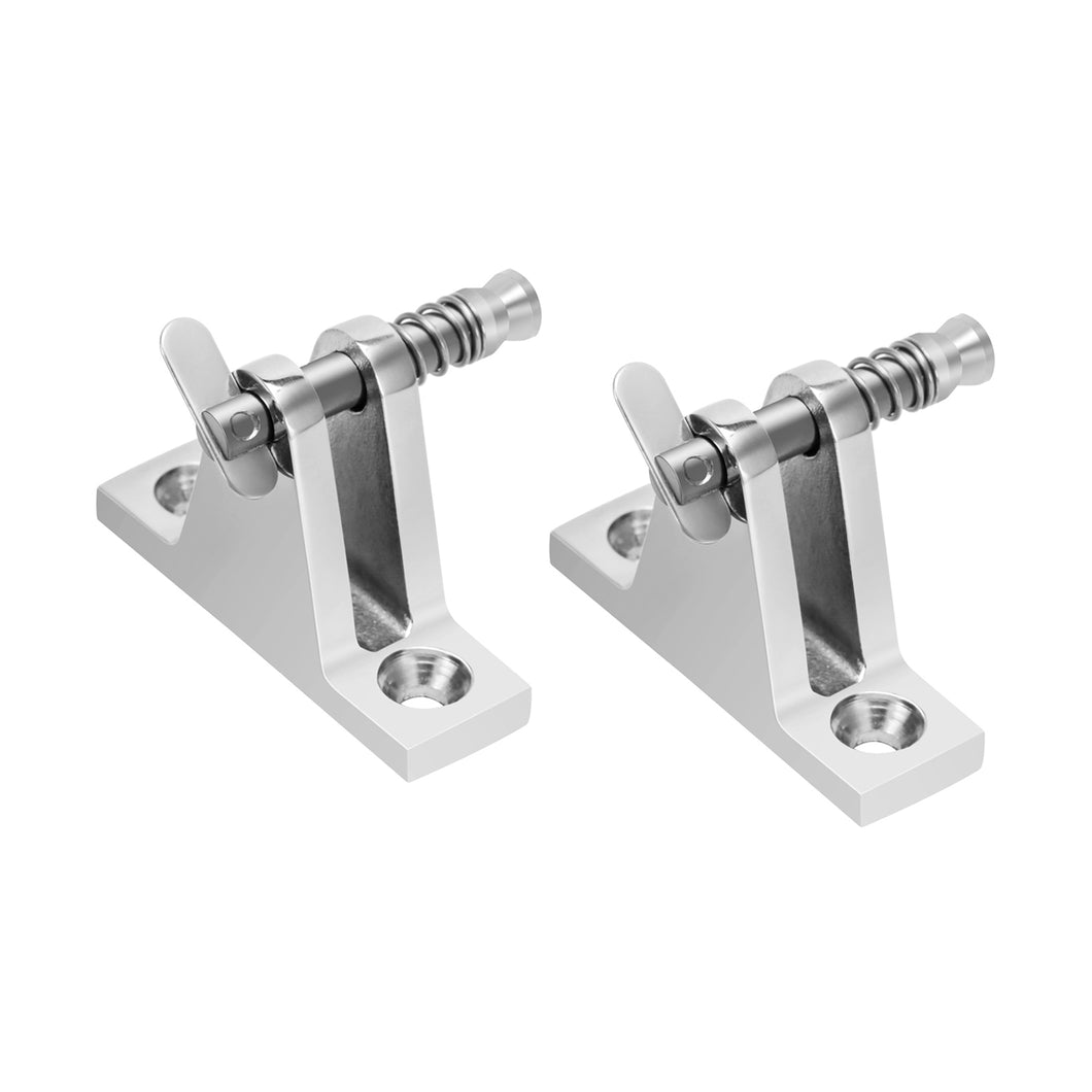 Kohree Boat Bimini top Fittings 90°Deck Hinge Flat Mount with Quick Release Pin Screws, 316 Stainless Steel (2 PCS) - kohree