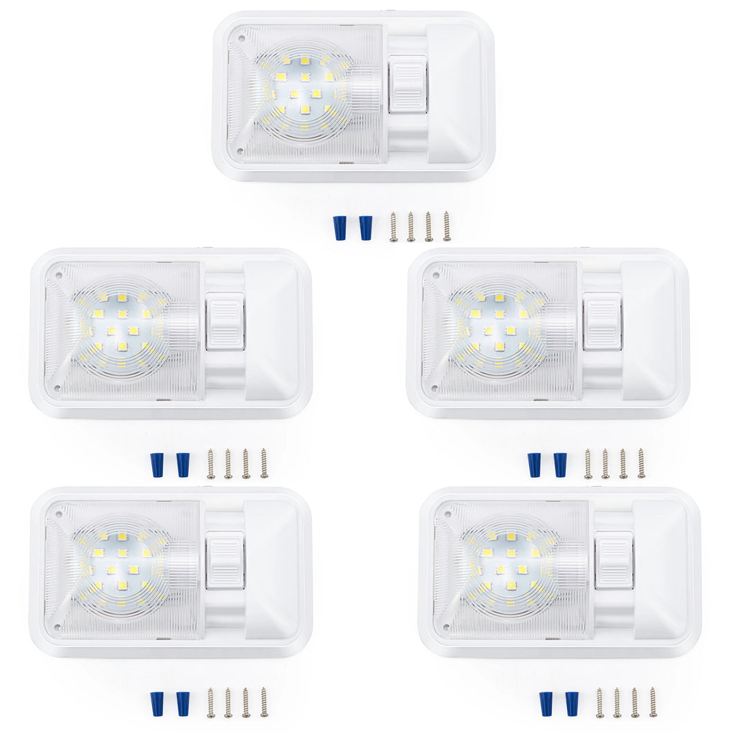 Kohree 12V Led RV Ceiling Dome Light RV Interior Lighting for Trailer Camper with Switch, Single Dome 300LM Each (Pack of 5) - kohree