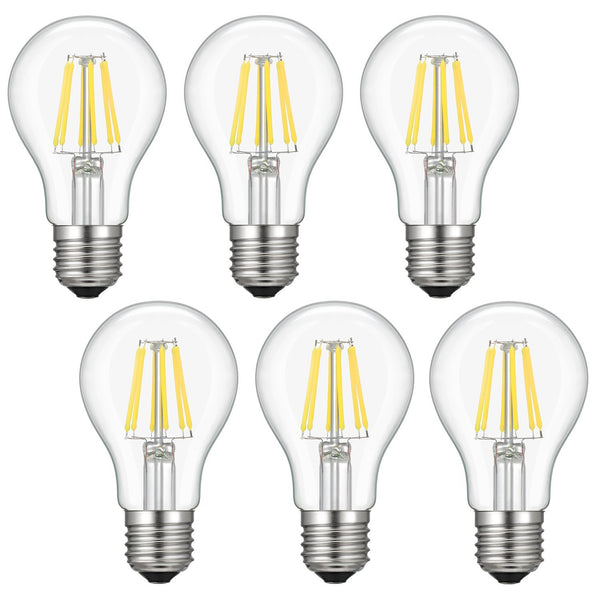 Dimmable Led Edison Bulb A19, Kohree 6W Vintage Filament Light Bulb, 60W Incandescent Equivalent Antique Bulb, 4000K Daylight, E26 Base, Pack of 6