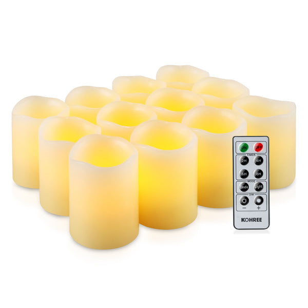 Kohree Flameless LED Candles Real Wax Remote Control Candles Battery Operated Retro Unscented Ivory Votive Pillar Candles Light, Warm White (Pack of 12)