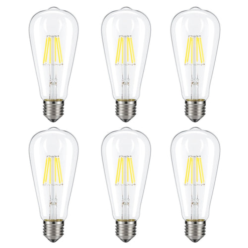 Kohree 6 Packs Dimmable Edison LED Bulb, 6W 4000K Daylight E26 Base Lamp LED Filament Light Bulb