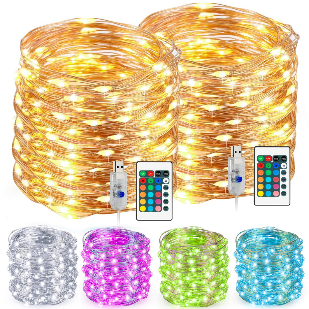 LED String Lights, Multi Color Changing String Lights With Remote USB Power Plug, 33ft 100 Leds Indoor Decorative Silver Wire Lights for Bedroom,Patio,Outdoor Garden,Stroller,Christmas Tree