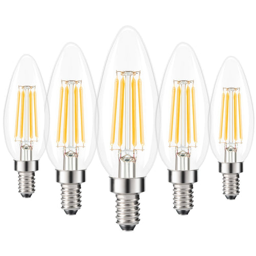 Kohree E14 LED Light Bulbs 4W, 40W Clear Candle Bulbs Equivalent, Warm White Candelabra Bulb, Non Dimmable, 440Lm, LED Filament Bulb, 5-Pack