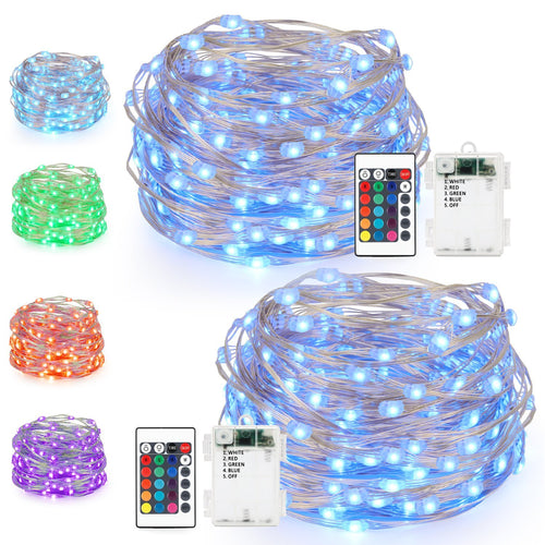 LED String Lights,Battery Powered Multi Color Changing String Lights With Remote,50 Leds Indoor Decorative Silver Wire Lights for Bedroom ,Patio,Outdoor Garden,Stroller,Christmas Tree 16ft, 2 Packs