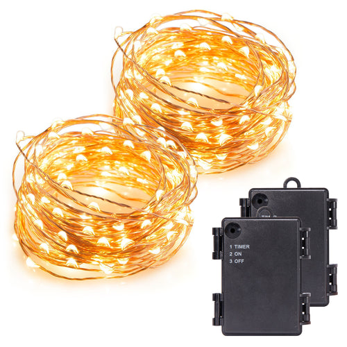 Kohree 120 Micro LED Battery Powered String Light with Timer, 40ft (2 Pack)