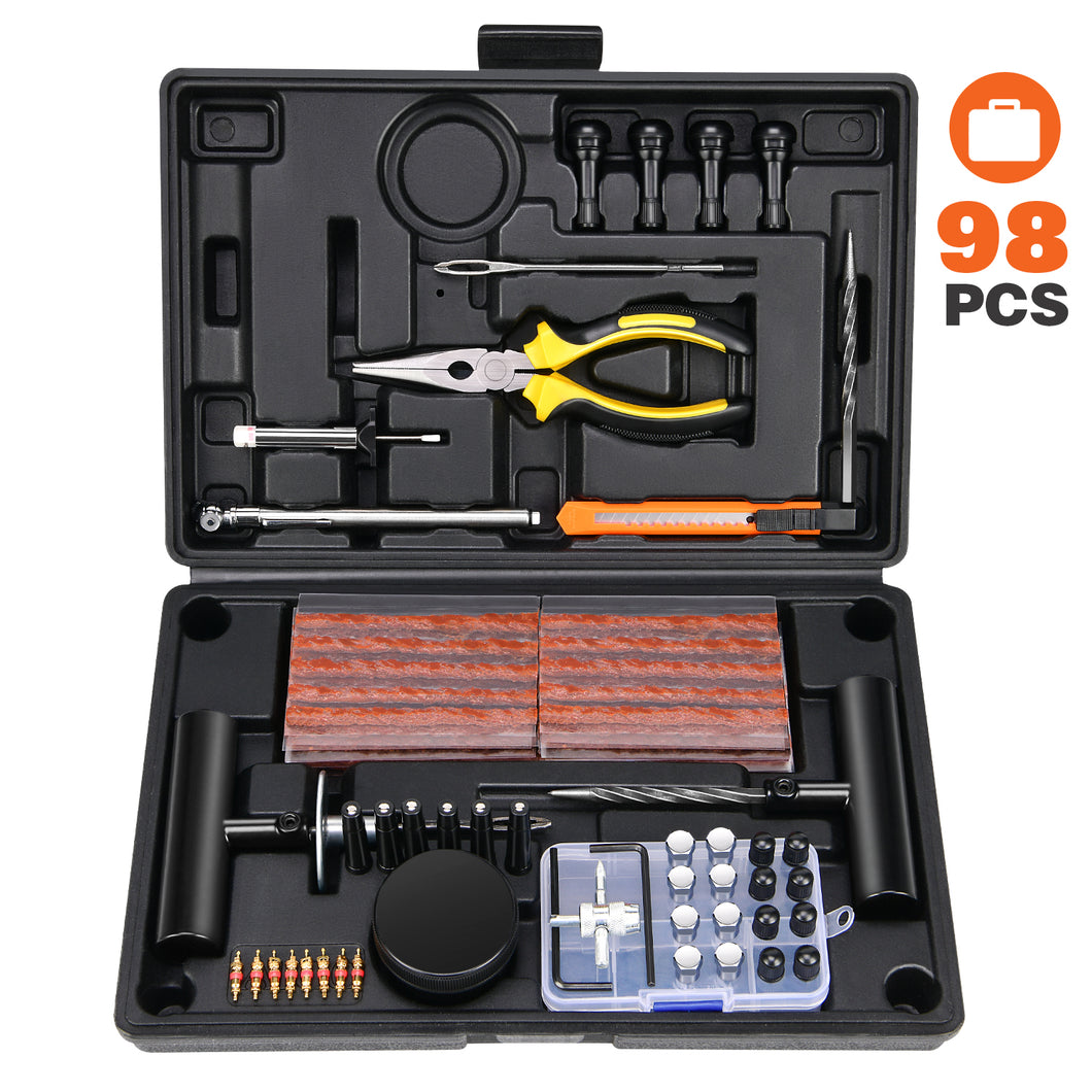 Kohree 98Pcs Tire Repair Kit, Heavy Duty Universal Tire Plug Repair Changing Tools to Fix Punctures & Plug Flats for Car, Truck, RV, Jeep, ATV, Tractor, Trailer, Motorcycle - kohree