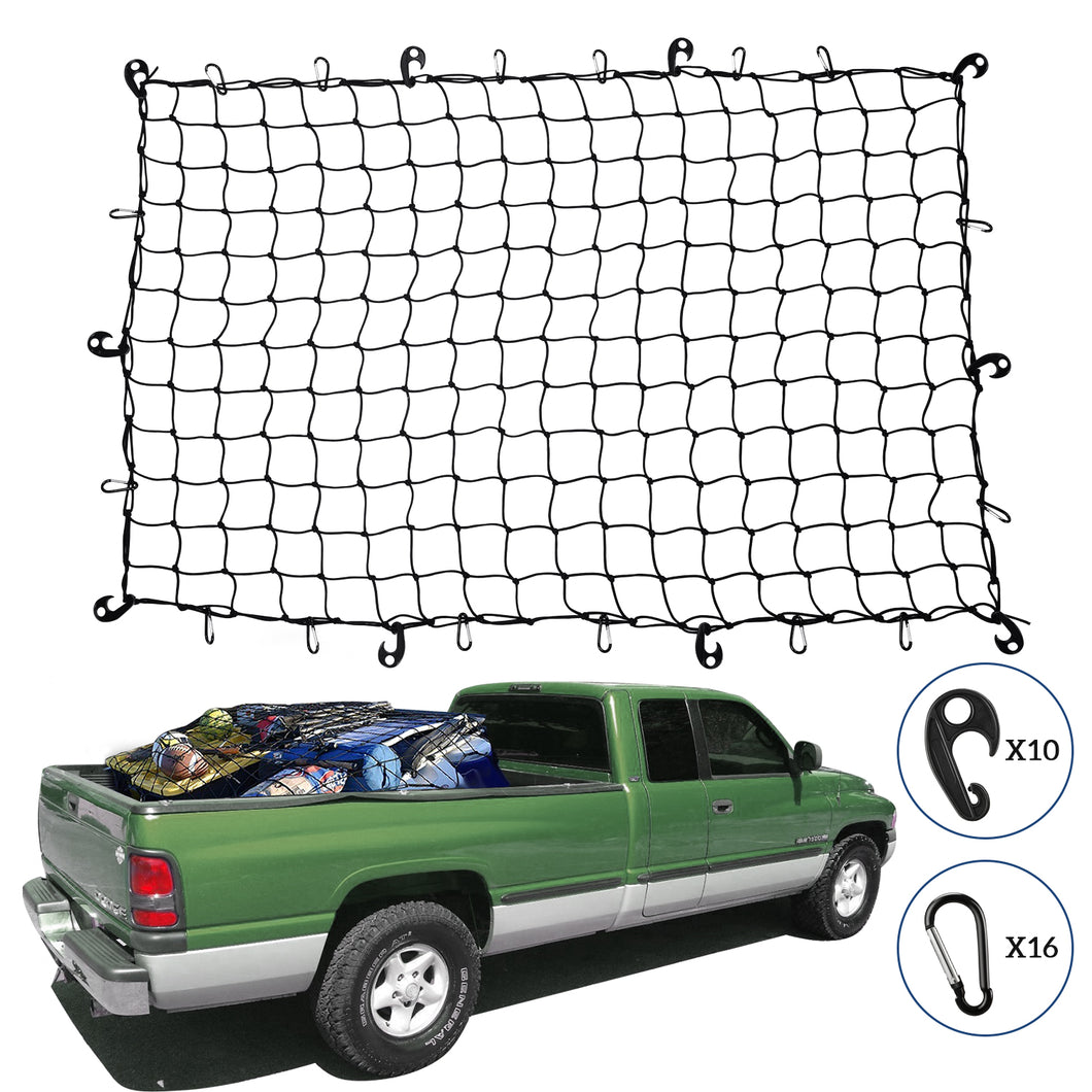 Kohree Cargo Net 4'x6' Super Duty Truck Bed Bungee Stretches Nets to 8'x12' for SUV Jeep Oversized Rooftop Cargo Rack & Small Trucks