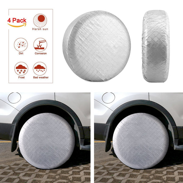 Tire Covers Tire Protectors RV Wheel Motorhome Wheel Covers Sun Protector Waterproof Aluminum Film, Cotton Lining Fits 27