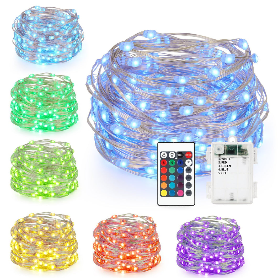LED String Lights,Battery Powered Multi Color Changing String Lights With Remote,50 Leds Indoor Decorative Silver Wire Lights for Bedroom ,Patio,Outdoor Garden,Stroller,Christmas Tree 16ft