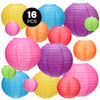 Kohree 16Pcs Colorful Hanging Paper Lantern, Chinese Japanese Decorative Paper Ball Lanterns Lights Party Decorations for Backyard Christmas Birthday Wedding