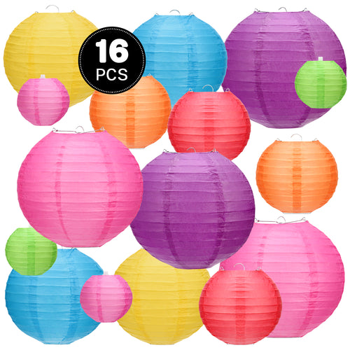Kohree 16Pcs Colorful Hanging Paper Lantern, Chinese Japanese Decorative Paper Ball Lanterns Lights Party Decorations for Backyard Christmas Birthday Wedding Baby Shower Size of 4