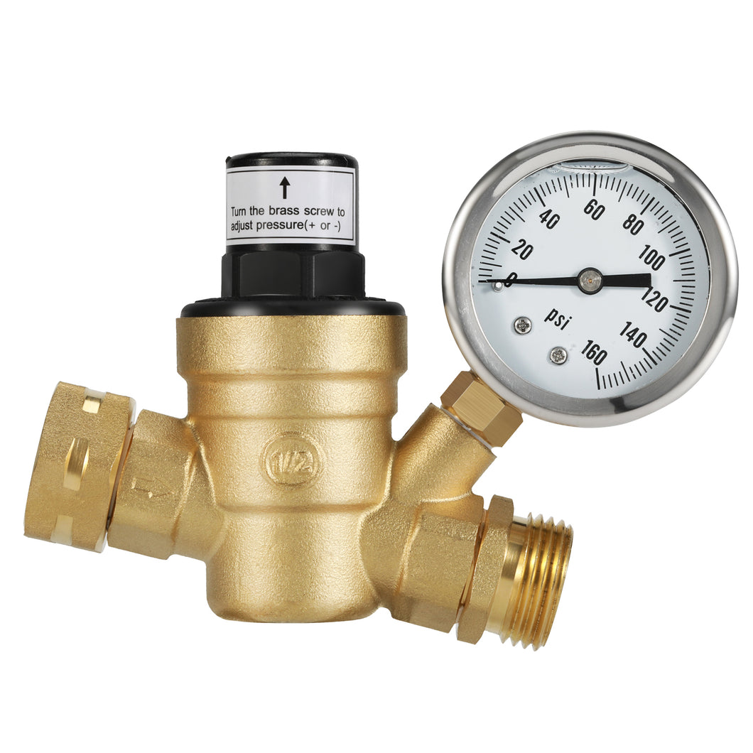 Kohree RV Brass Lead-Free Adjustable Water Pressure Reducer with Gauge and Inlet Screened Filter