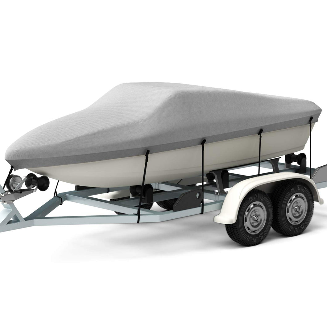 Cooltop Bass Boat Cover Bayliner Boat Cover Fits V-Hull Tri-Hull Fishing Ski Pro-Style, Trailerable Runabout Boat Cover, Heavy Duty 600D Polyester 14'~16'L